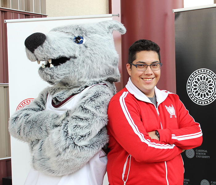 Student with Wolfy