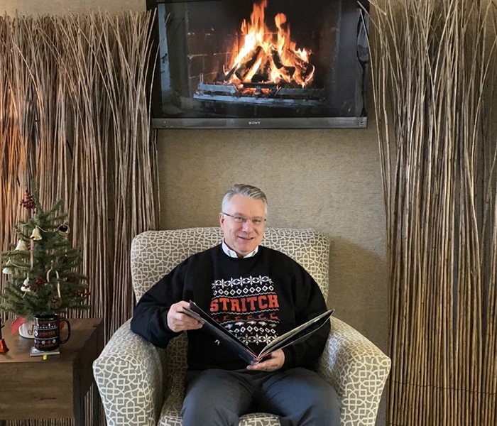 <p>Interim President Dr. Dan Scholz shared a reading of <i>'Twas the Night Before Christmas </i>with the Stritch community.</p>