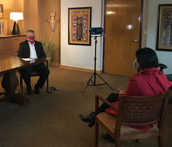 <p>Dr. Dan Scholz detailed the University's COVID-19 protocols during an interview with Mary Jo Ola on WTMJ-TV 4.</p>